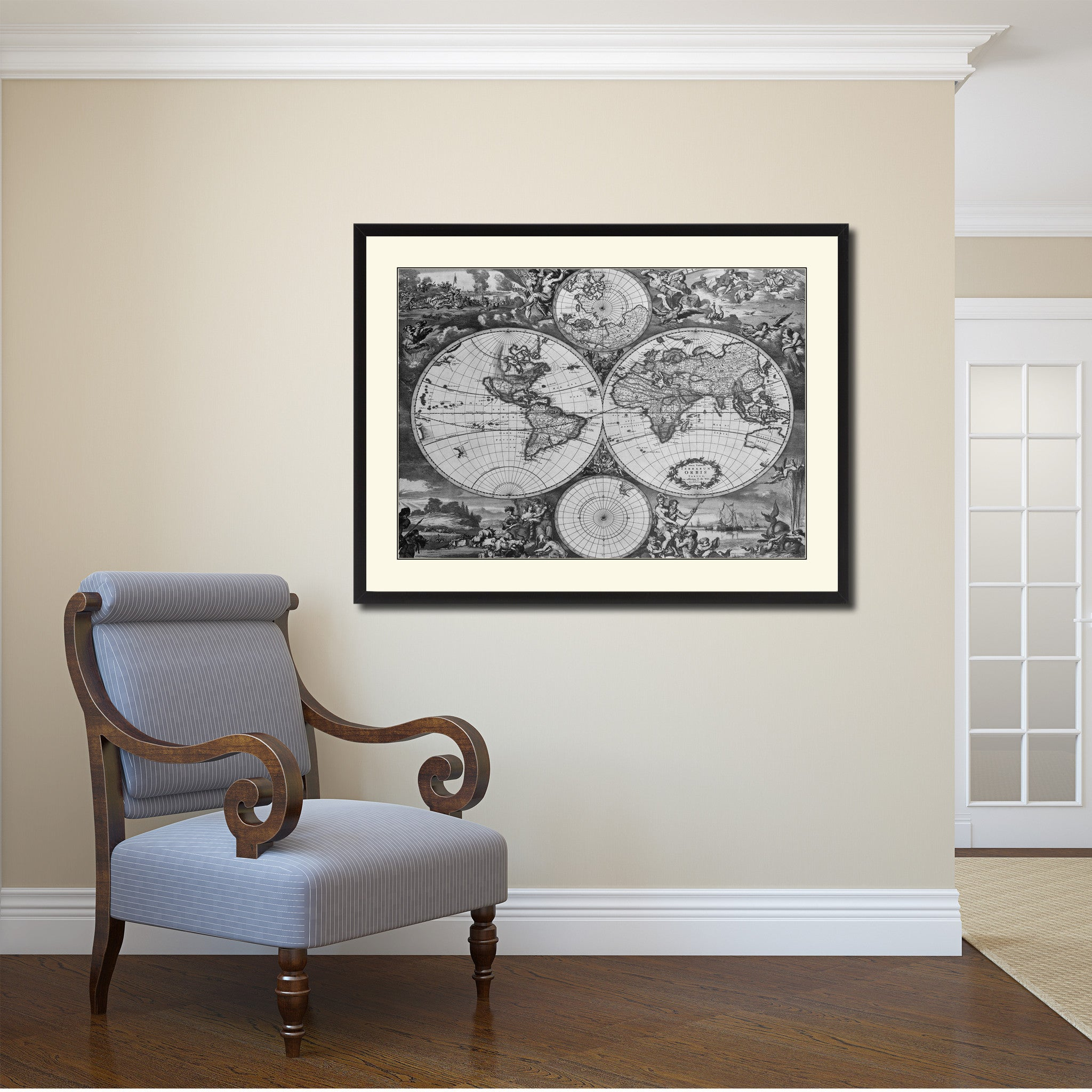 World Hemispheres Vintage BW Map Canvas Print Picture Frame Home Decor Wall Art Gift Ideas