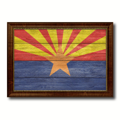 Arizona State Flag Texture Canvas Print with Brown Picture Frame Gifts Home Decor Wall Art Collectible Decoration