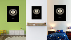 Saturn Print on Canvas Planets of Solar System Black Custom Framed Art Home Decor Wall Offec Decoration