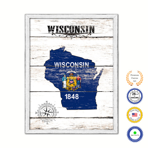Wisconsin Flag Gifts Home Decor Wall Art Canvas Print with Custom Picture Frame