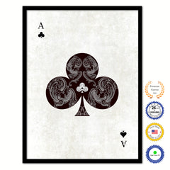 Ace Clover Poker Decks of Vintage Cards Print on Canvas Black Custom Framed