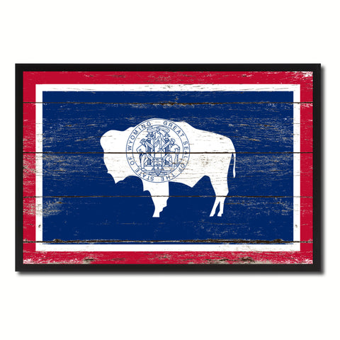 Wyoming State Flag Vintage Canvas Print with Black Picture Frame Home DecorWall Art Collectible Decoration Artwork Gifts