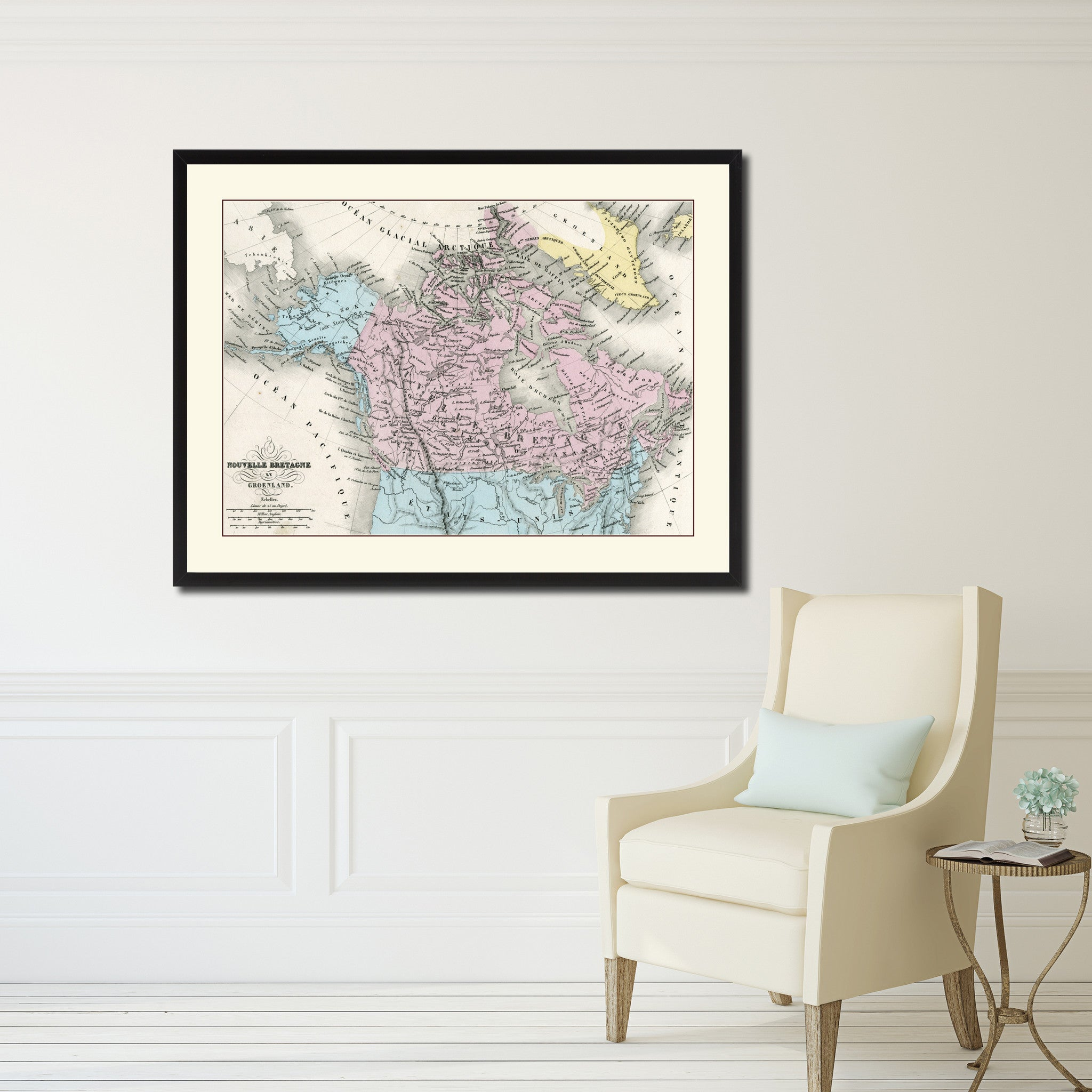 Canada Alaska Vintage Antique Map Wall Art Home Decor Gift Ideas Canvas Print Custom Picture Frame