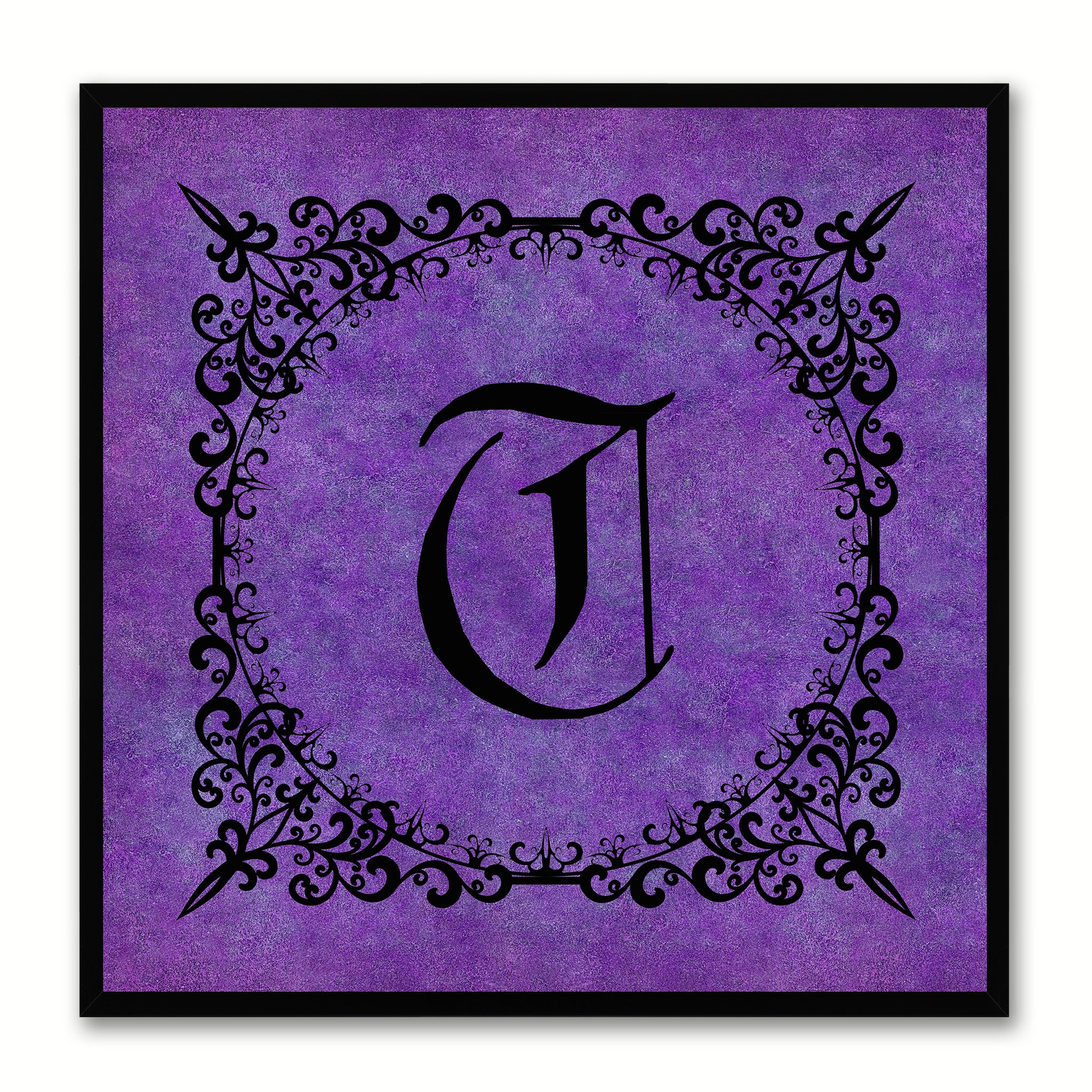 Alphabet T Purple Canvas Print Black Frame Kids Bedroom Wall Décor Home Art