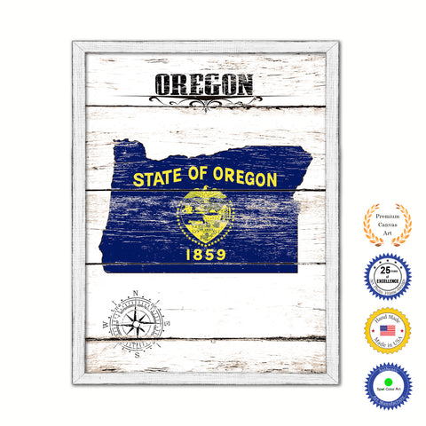 Oregon Flag Gifts Home Decor Wall Art Canvas Print with Custom Picture Frame