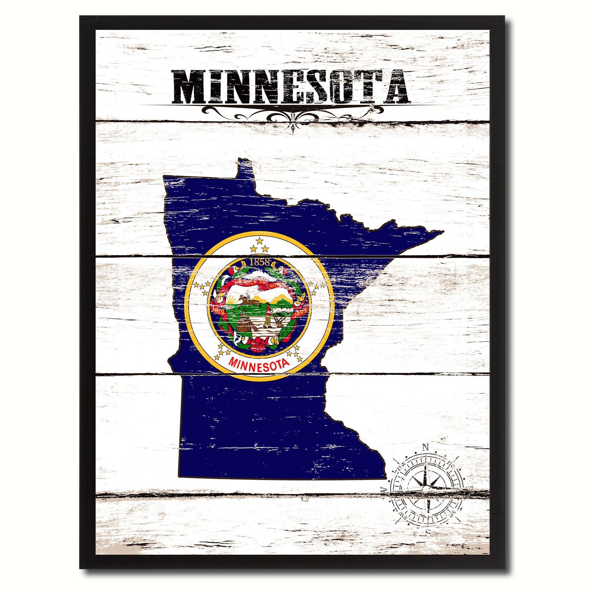 Minnesota State Flag Gifts Home Decor Wall Art Canvas Print Picture Frames