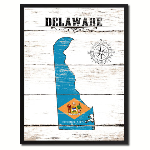 Delaware State Flag Texture Canvas Print with Black Picture Frame Home Decor Man Cave Wall Art Collectible Decoration Artwork Gifts