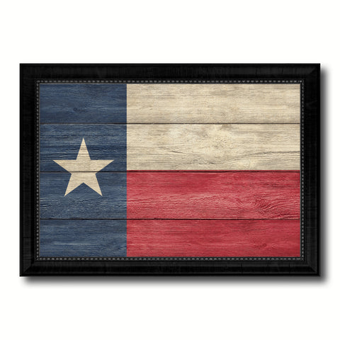 Texas State Flag Texture Canvas Print with Black Picture Frame Home Decor Man Cave Wall Art Collectible Decoration Artwork Gifts
