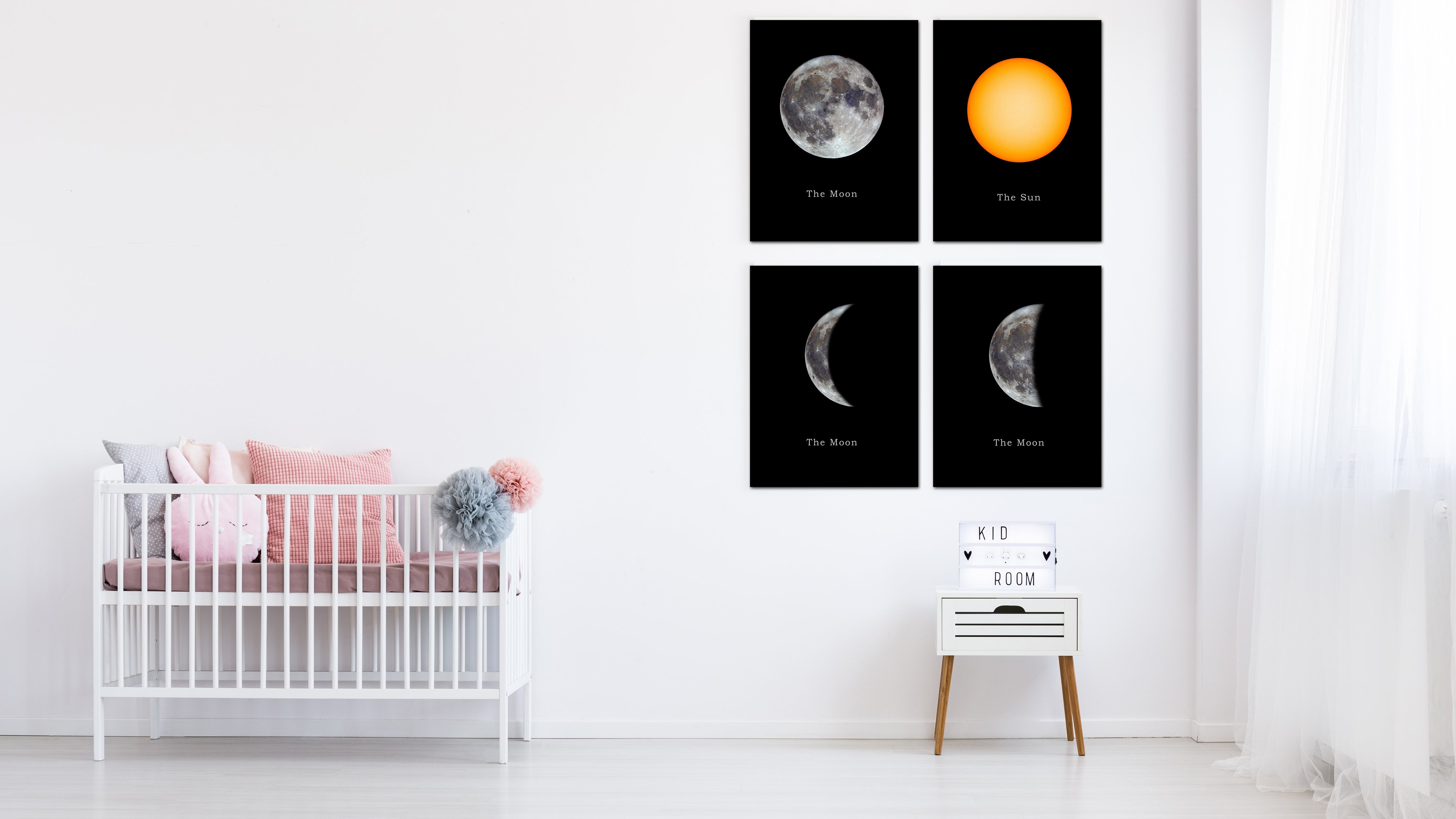 Crescent Moon Print on Canvas Planets of Solar System Black Custom Framed Art Home Decor Wall Office Decoration