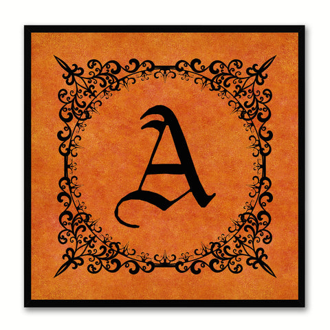 Alphabet A Orange Canvas Print Black Frame Kids Bedroom Wall Décor Home Art
