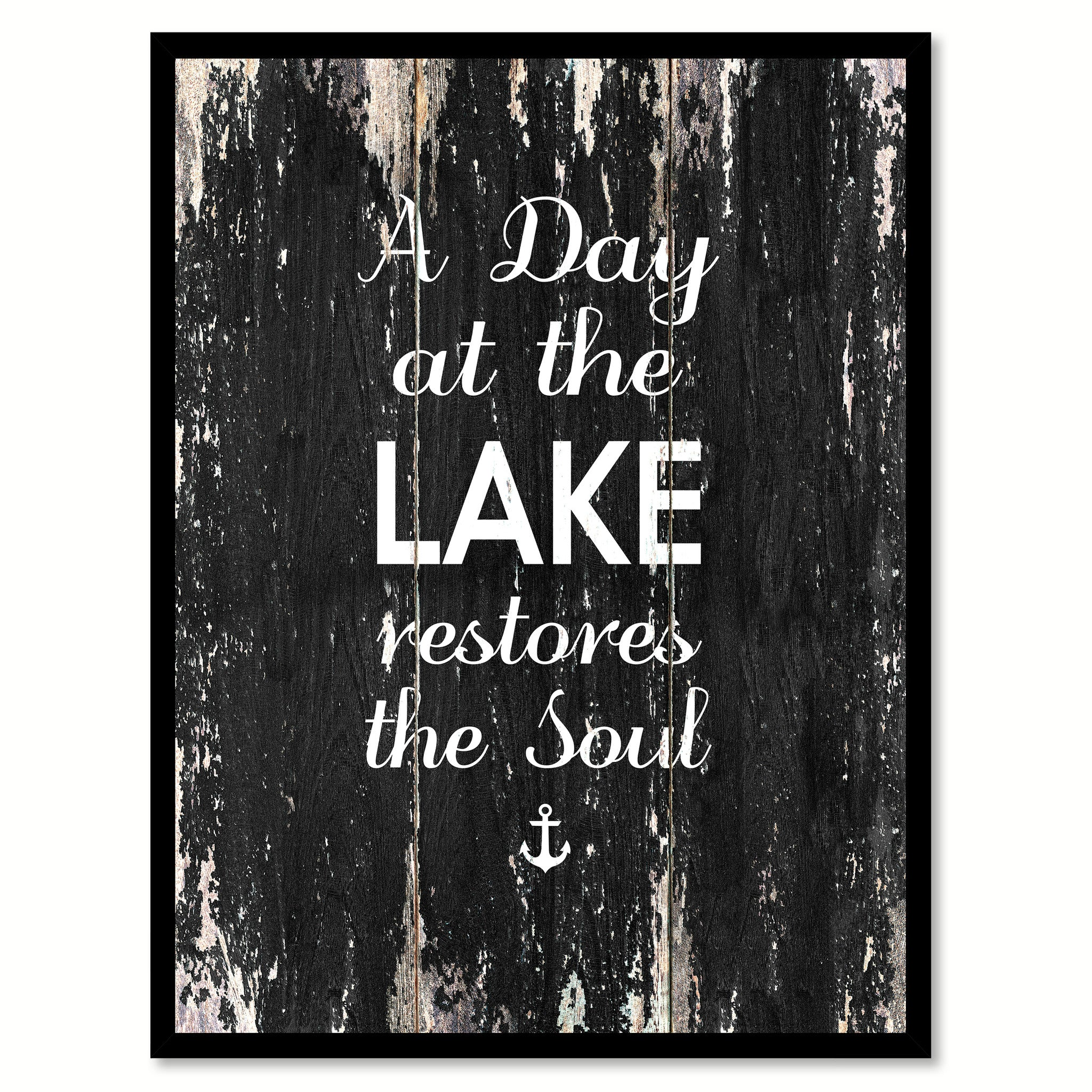 A day at the lake restores the soul Motivational Quote Saying Canvas Print with Picture Frame Home Decor Wall Art