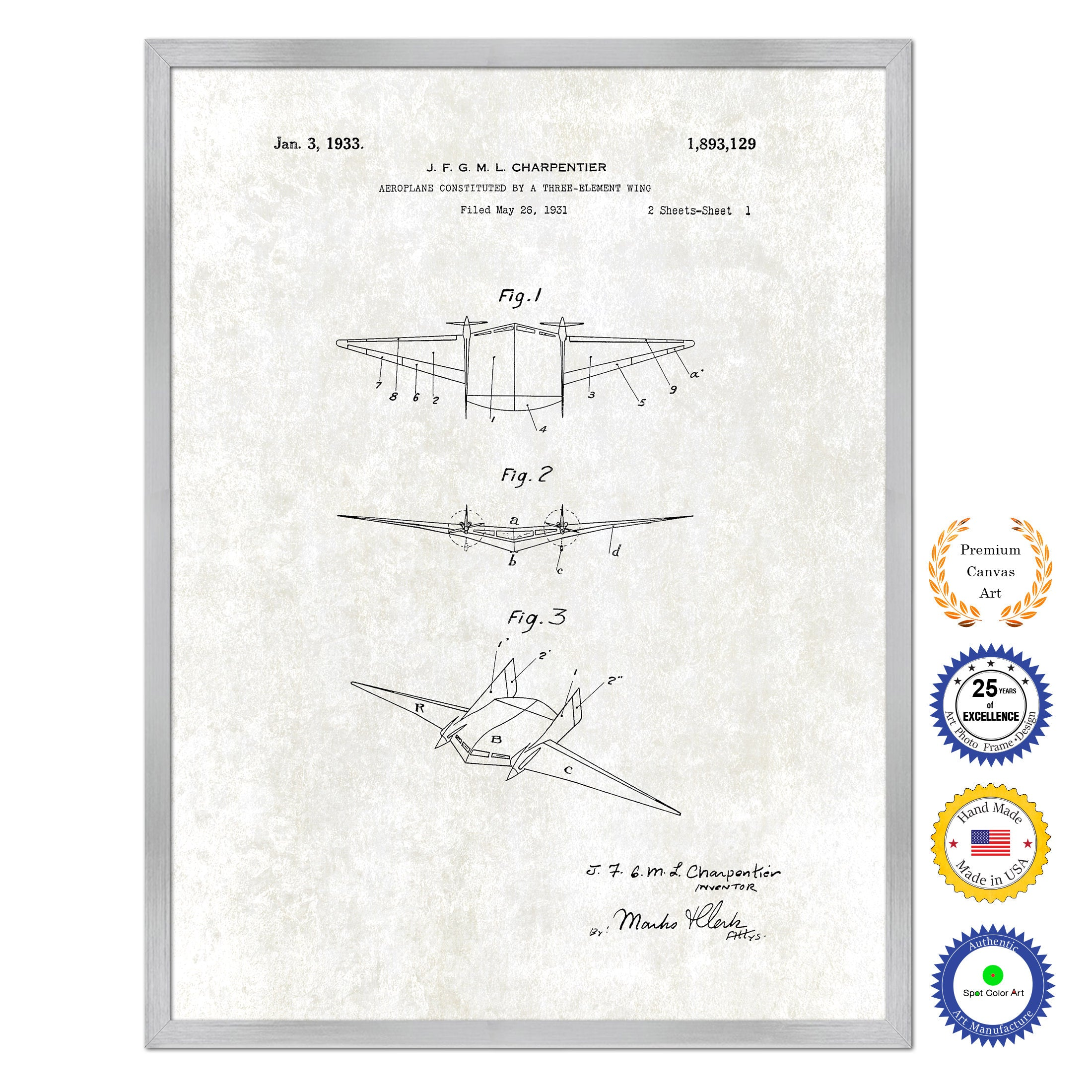 1933 Three Element Wing Airplane Antique Patent Artwork Silver Framed Canvas Print Home Office Decor Great for Pilot Gift