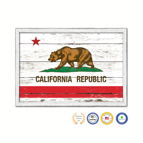 California State Flag Shabby Chic Gifts Home Decor Wall Art Canvas Print, White Wash Wood Frame