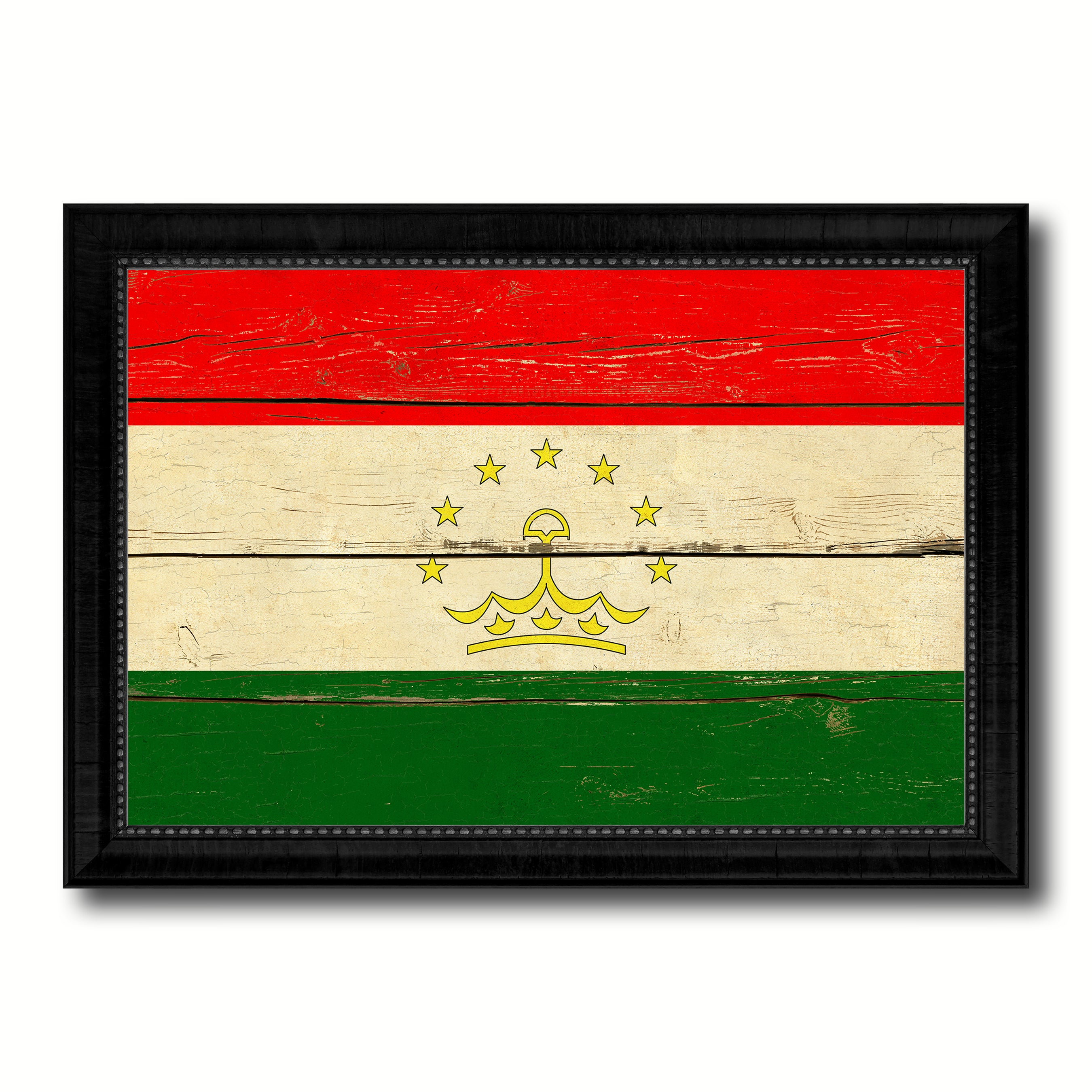 Tajikistan Country Flag Vintage Canvas Print with Black Picture Frame Home Decor Gifts Wall Art Decoration Artwork