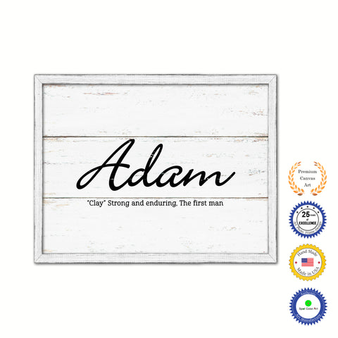 Adam Name Plate White Wash Wood Frame Canvas Print Boutique Cottage Decor Shabby Chic