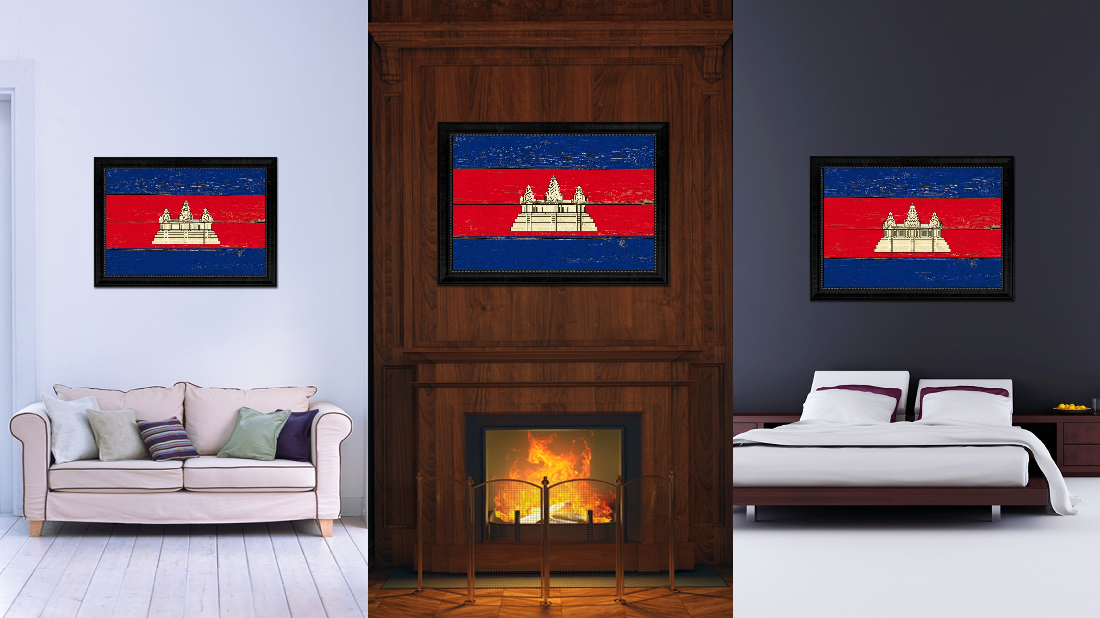 Cambodia Country Flag Vintage Canvas Print with Black Picture Frame Home Decor Gifts Wall Art Decoration Artwork