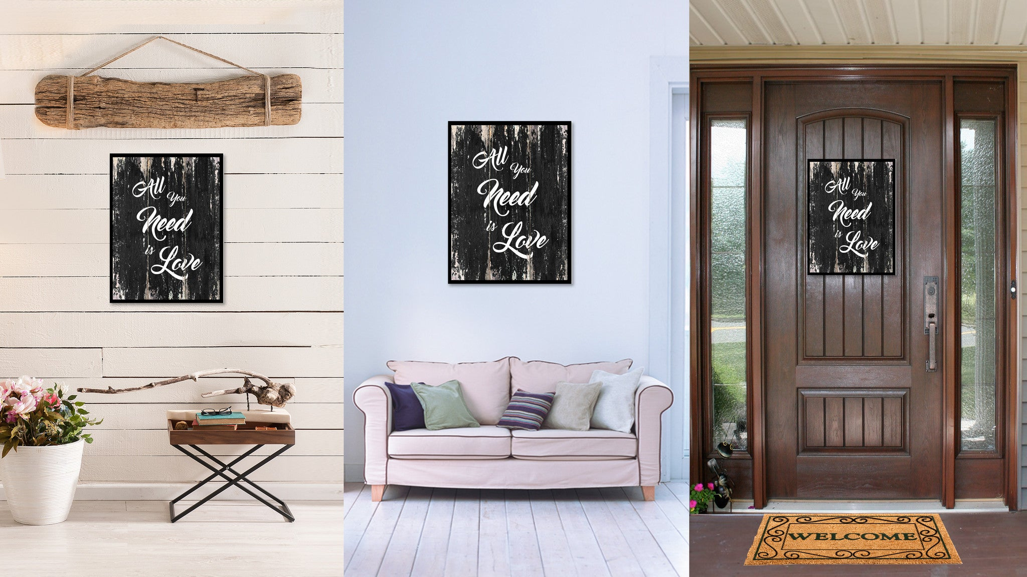 All you need is love Motivational Quote Saying Canvas Print with Picture Frame Home Decor Wall Art