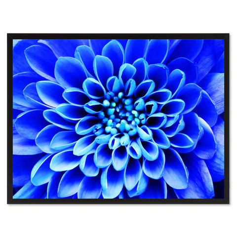 Blue Chrysanthemum Flower Framed Canvas Print Home Décor Wall Art