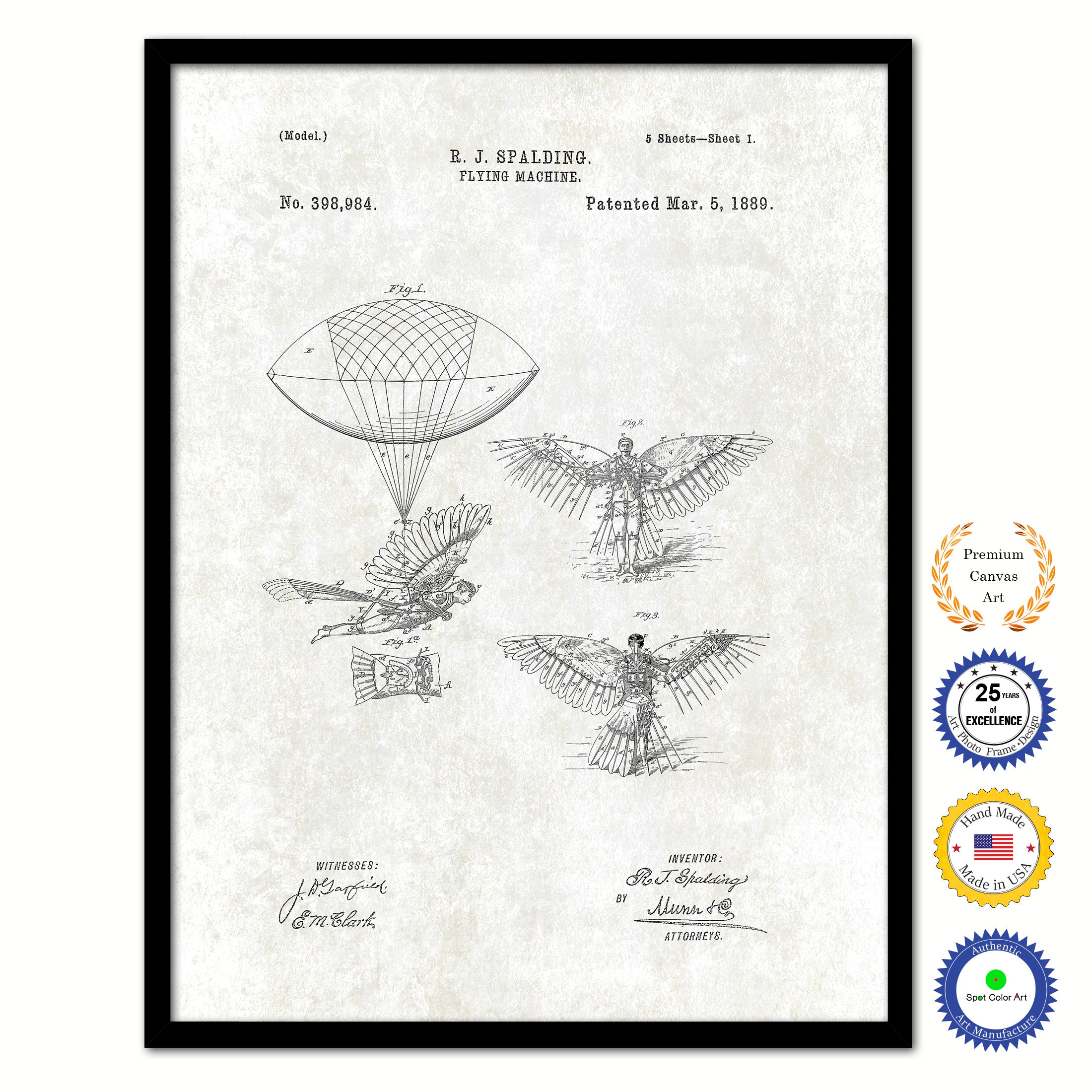 1889 Flying Machine Vintage Patent Artwork Black Framed Canvas Print Home Office Decor Great for Pilot Gift