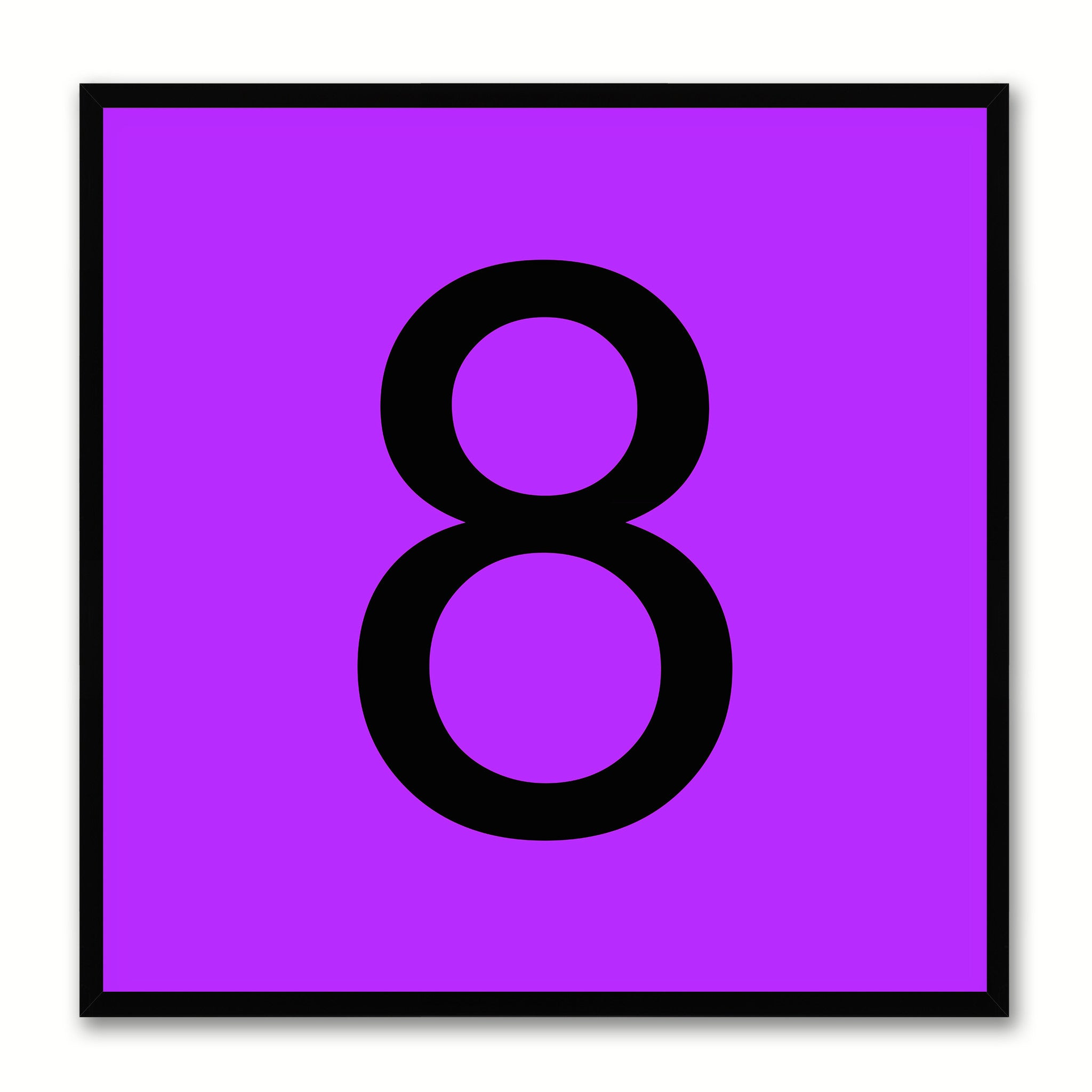 Number 8 Purple Canvas Print Black Frame Kids Bedroom Wall Décor Home Art