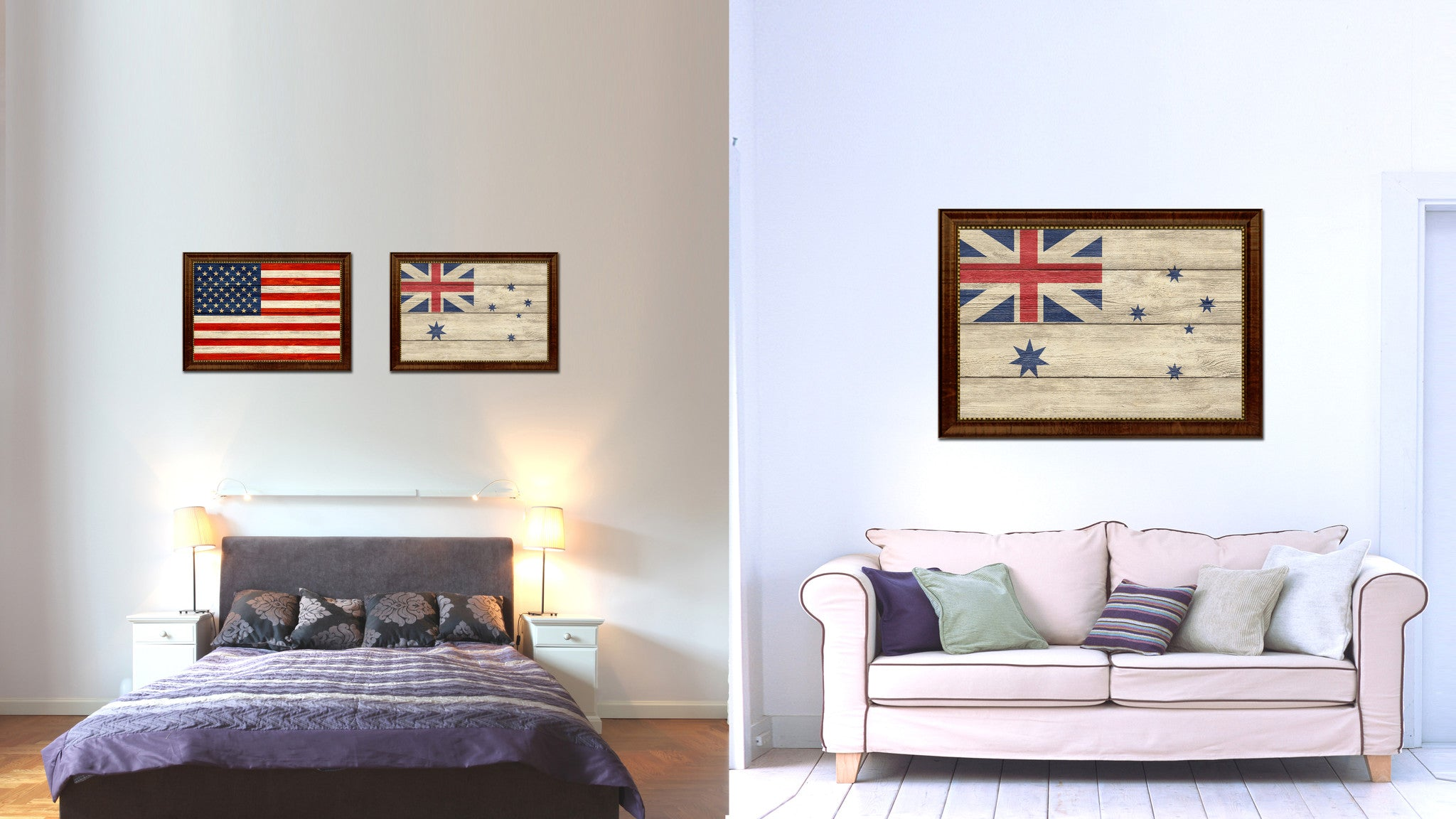 Australian White Ensign City Australia Country Texture Flag Canvas Print Brown Picture Frame