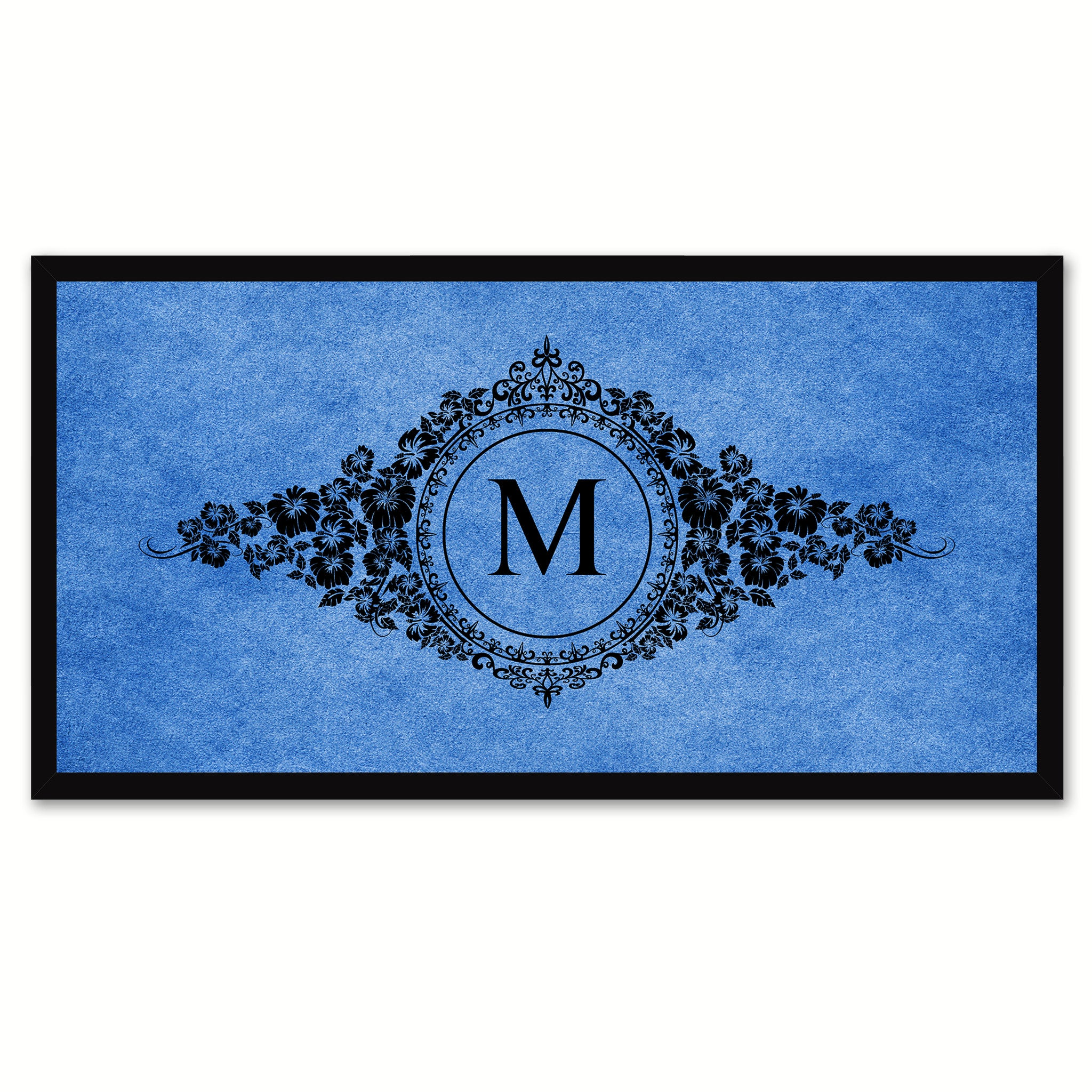 Alphabet Letter M Blue Canvas Print, Black Custom Frame