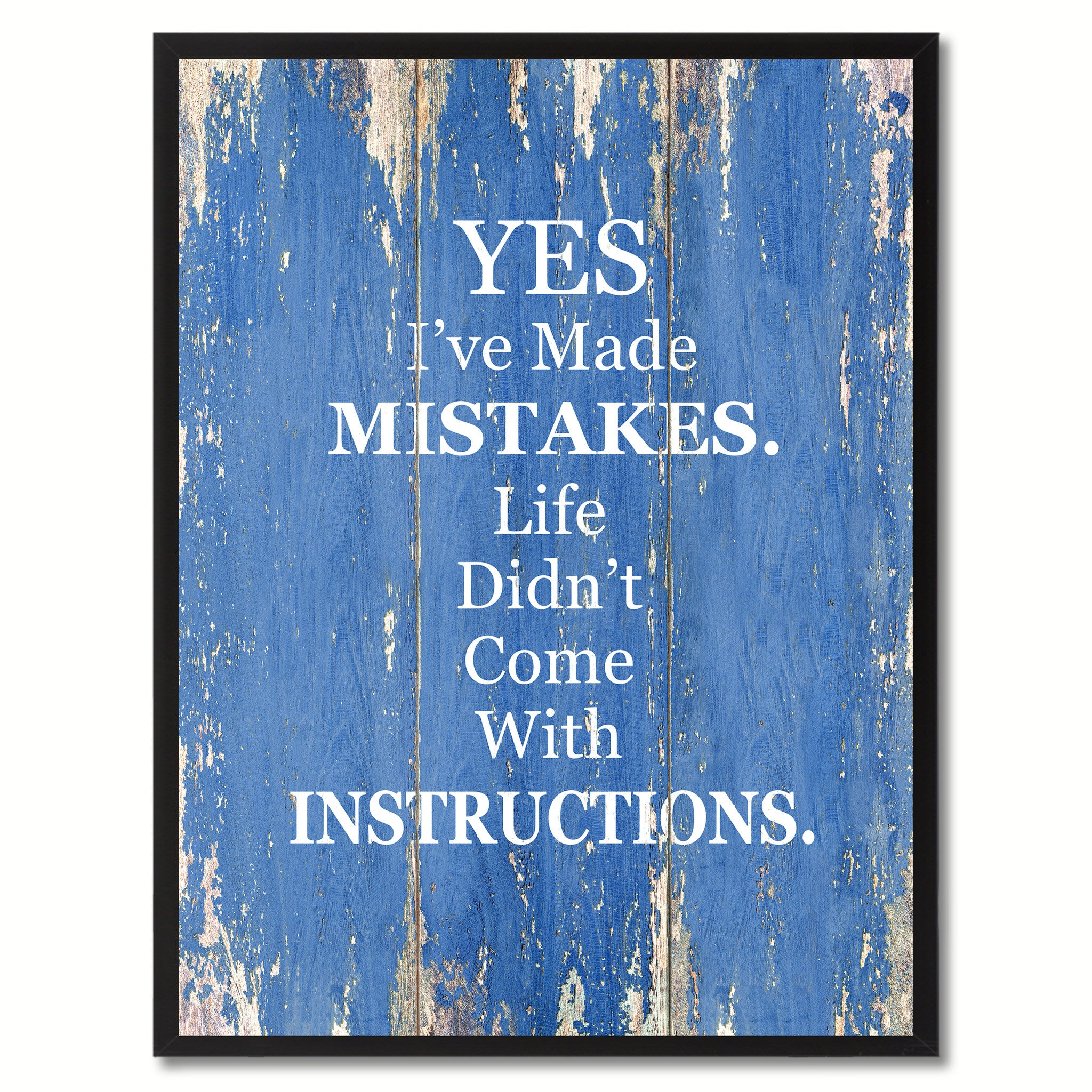 Yes I've Made Mistakes Saying Canvas Print, Black Picture Frame Home Decor Wall Art Gifts