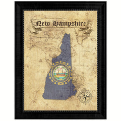 New Hampshire State Vintage Map Gifts Home Decor Wall Art Office Decoration