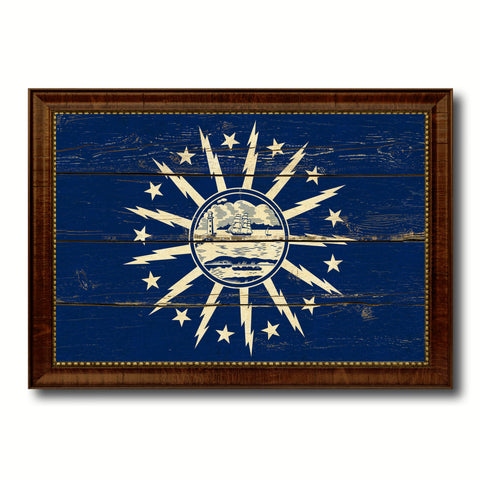 Buffalo City New York State Vintage Flag Canvas Print Brown Picture Frame
