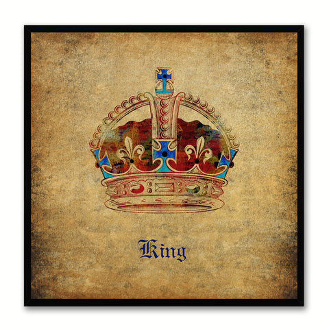 King Brown Canvas Print Black Frame Kids Bedroom Wall Home Décor