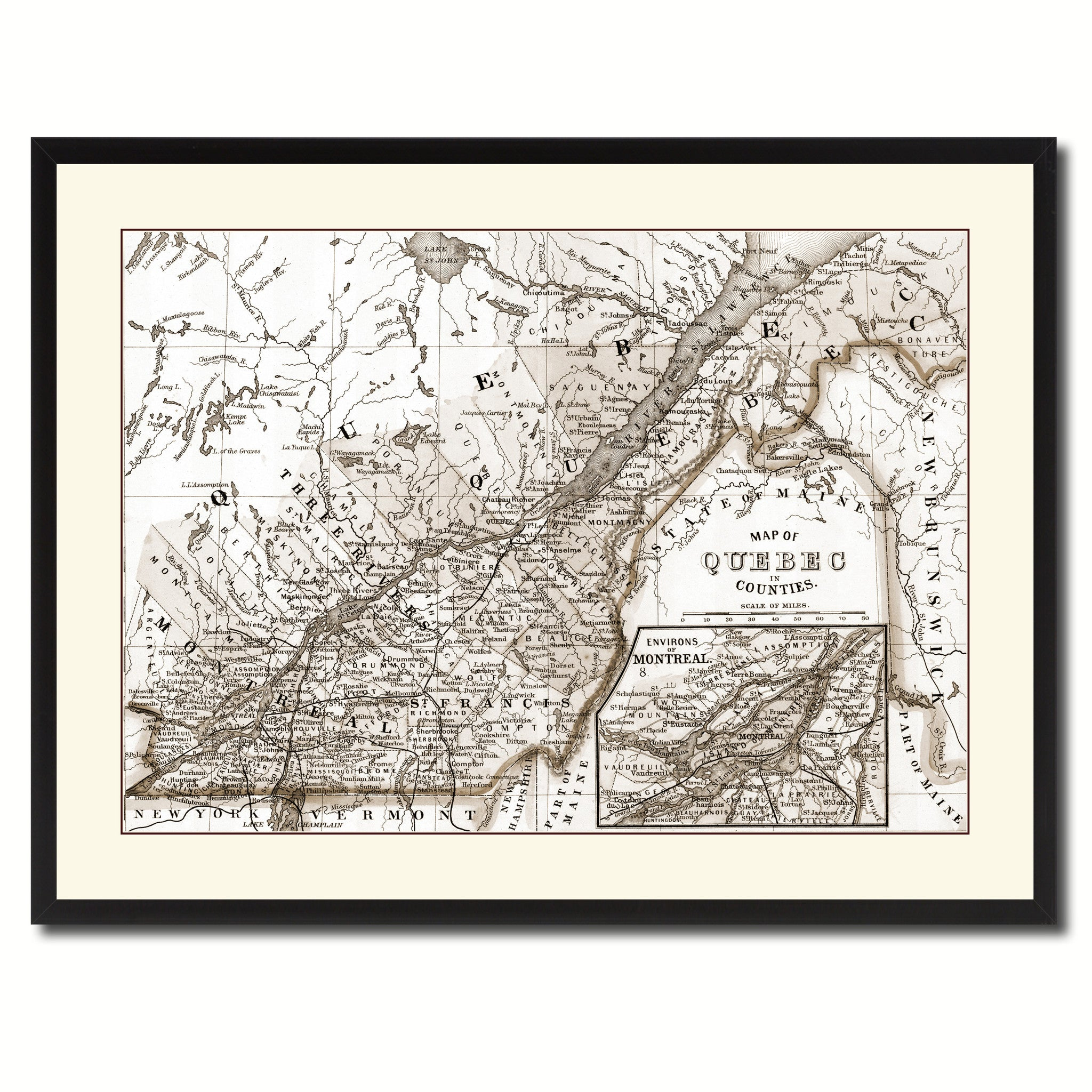 Quebec Montreal Vintage Sepia Map Home Decor Wall Art Bedroom ...