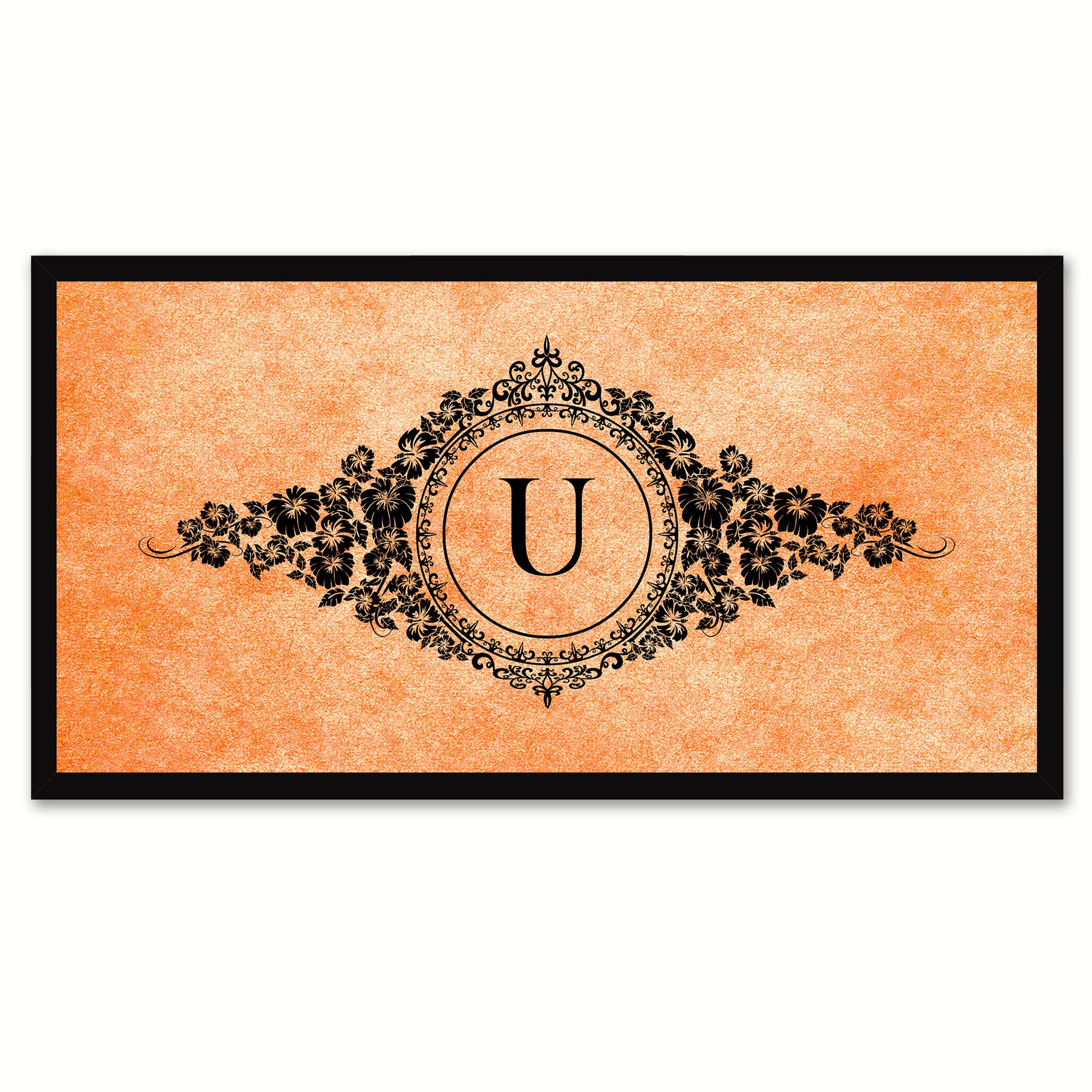 Alphabet Letter U Orange Canvas Print, Black Custom Frame