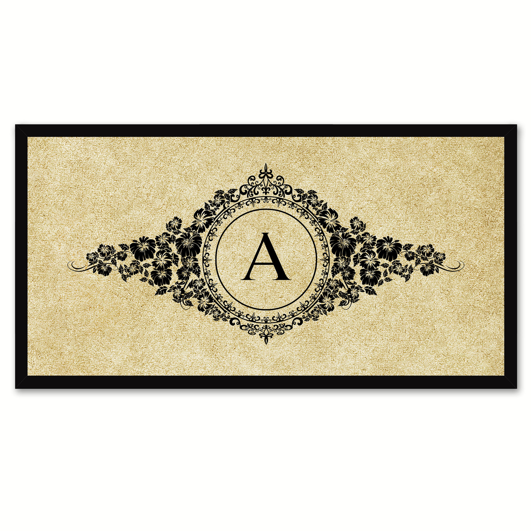 Alphabet Letter A Brown Canvas Print, Black Custom Frame