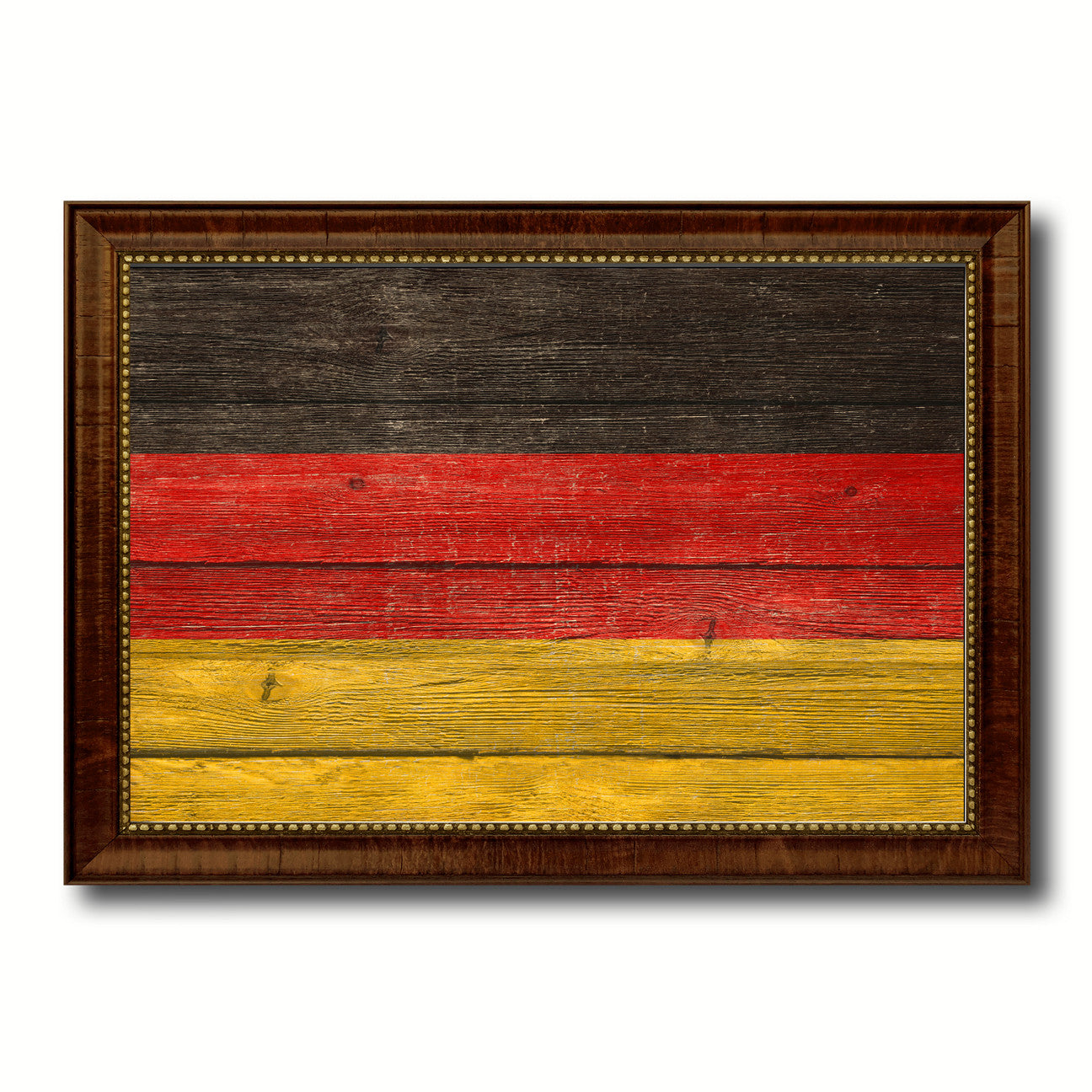 Germany Country Flag Texture Canvas Print with Brown Custom Picture Frame Home Decor Gift Ideas Wall Art Decoration