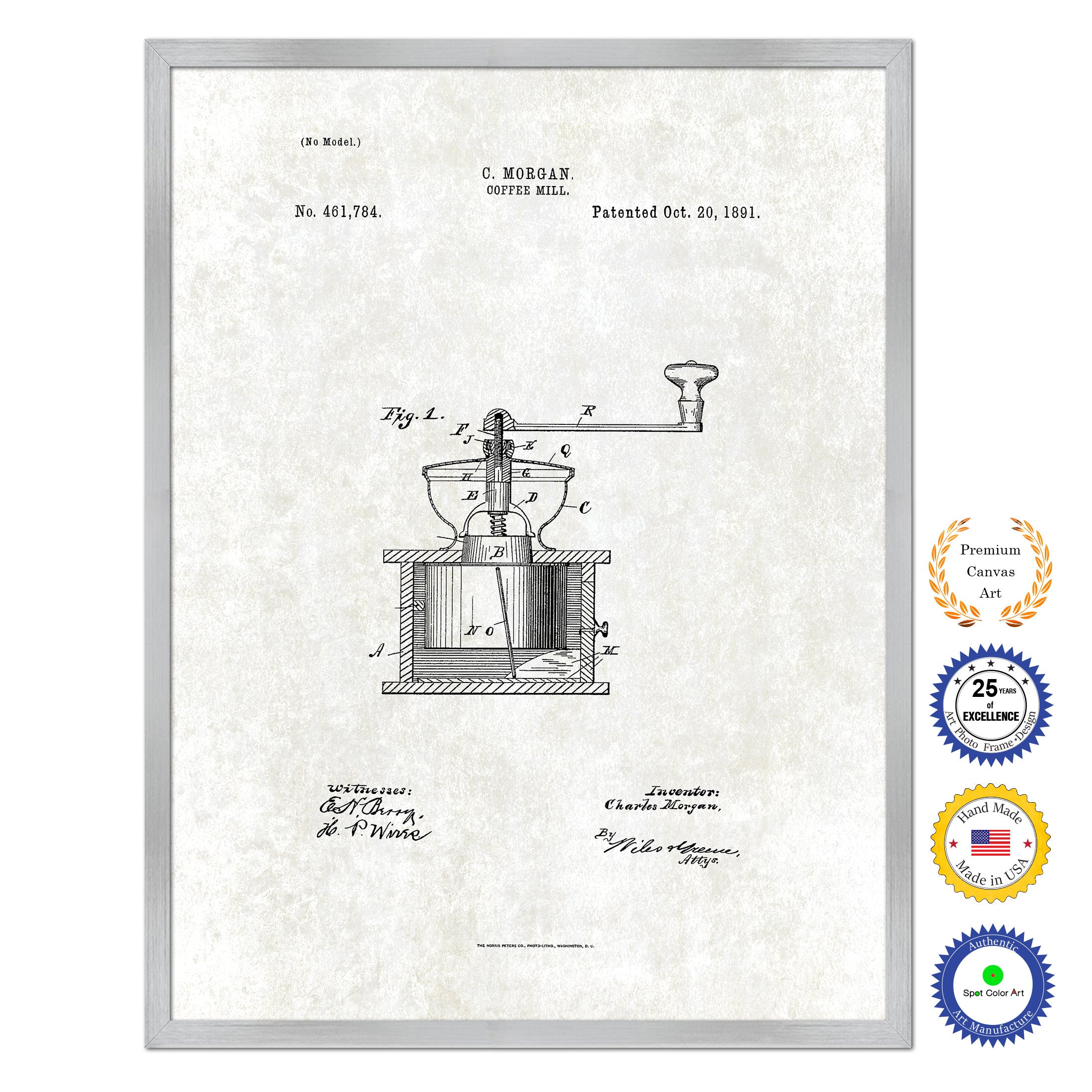 1891 Coffee Mill Grinder Antique Patent Artwork Silver Framed Canvas Print Home Office Decor Great for Coffee Spice Lover Cafe Shop