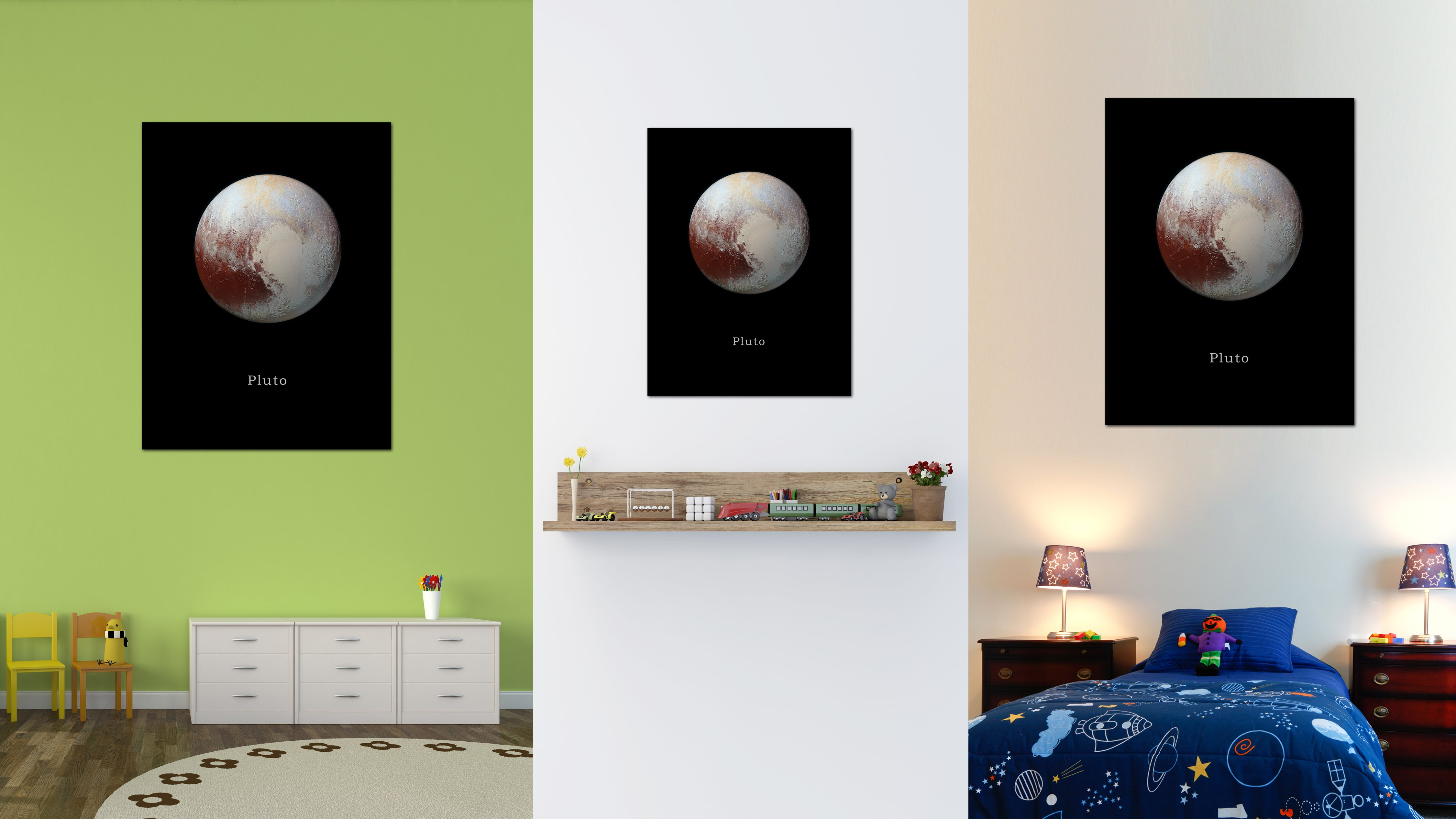 Pluto Print on Canvas Planets of Solar System Black Custom Framed Art Home Decor Wall Office Decoration