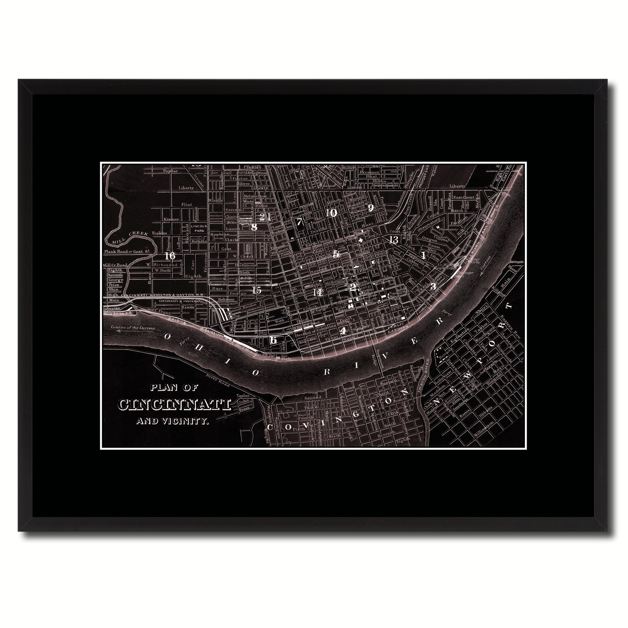 Cincinnati Vintage Vivid Sepia Map Canvas Print, Picture Frames Home Decor Wall Art Decoration Gifts