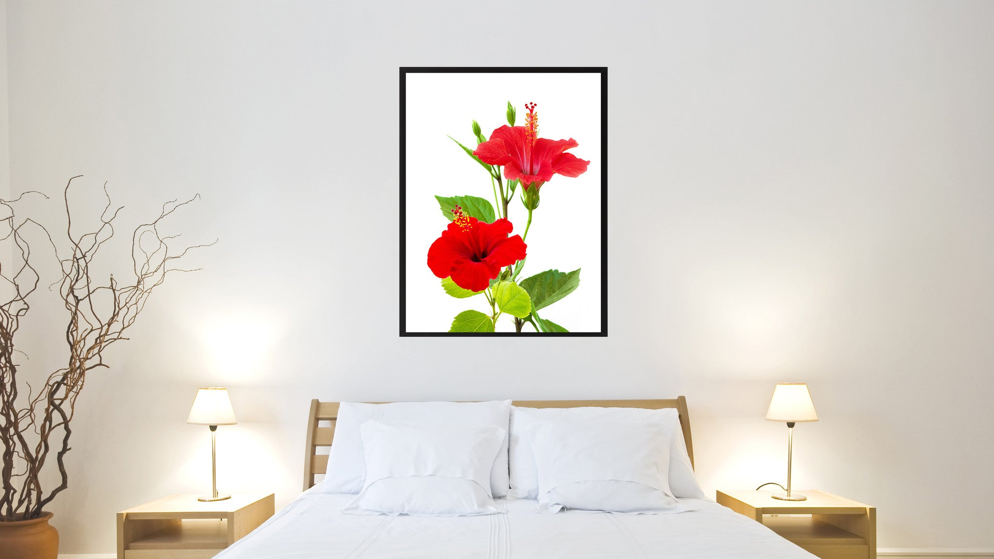 Red Hibiscus Flower Framed Canvas Print Home Décor Wall Art