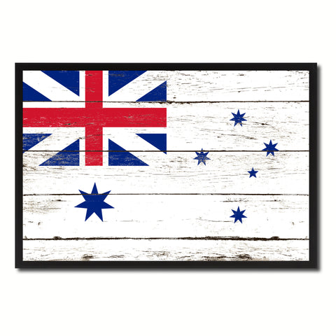 Australian White Ensign City Australia Country Flag Vintage Canvas Print with Black Picture Frame Home Decor Wall Art Collectible Decoration Artwork Gifts