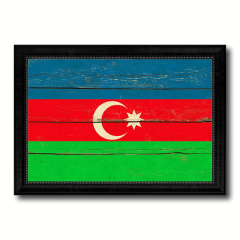 Azerbaijan Country Flag Vintage Canvas Print with Black Picture Frame Home Decor Gifts Wall Art Decoration Artwork