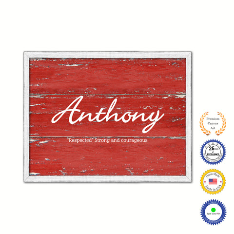 Anthony Name Plate White Wash Wood Frame Canvas Print Boutique Cottage Decor Shabby Chic