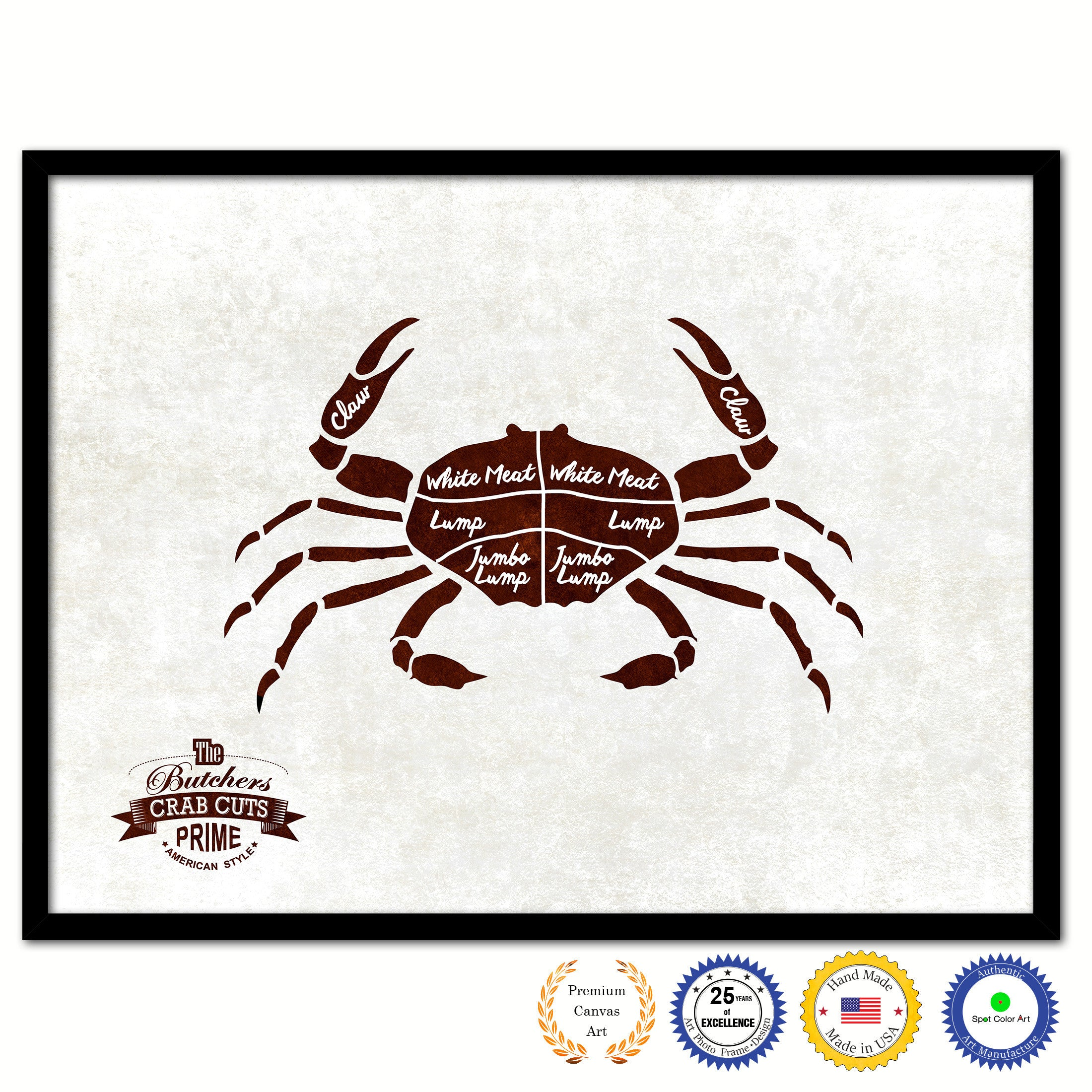 Crab Meat Cuts Butchers Chart Canvas Print Picture Frame Home Decor Wall Art Gifts