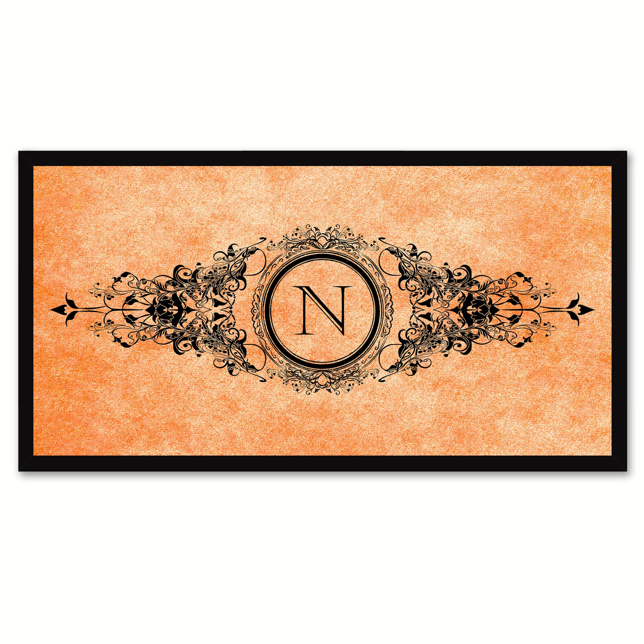 Alphabet Letter N Orange Canvas Print, Black Custom Frame