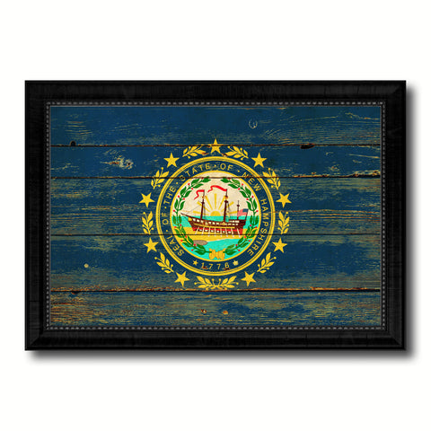 New Hampshire State Vintage Flag Canvas Print with Black Picture Frame Home Decor Man Cave Wall Art Collectible Decoration Artwork Gifts
