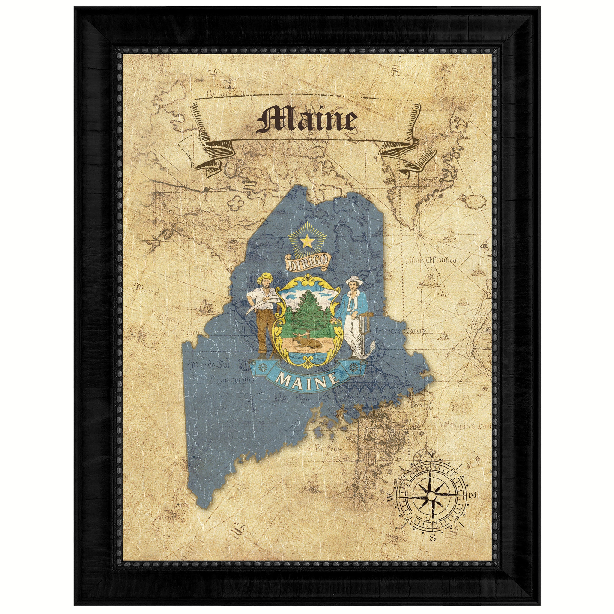 Maine State Vintage Map Art Office Wall Home Decor Rustic Gift Ideas ...