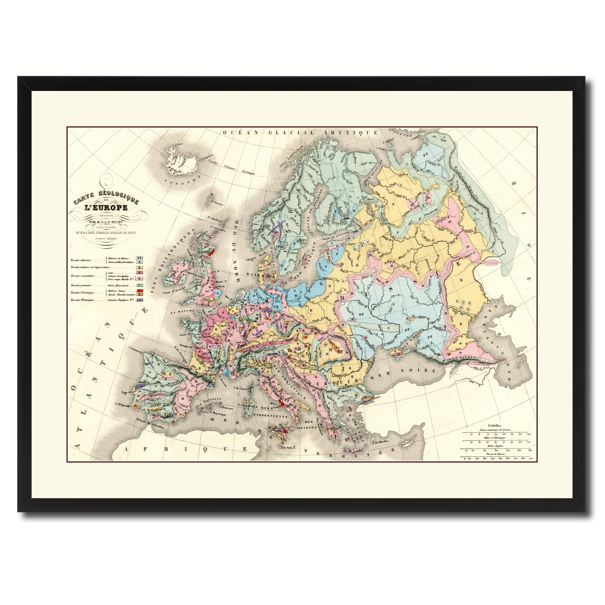 Europe Geological Vintage Antique Map Wall Art Home Decor