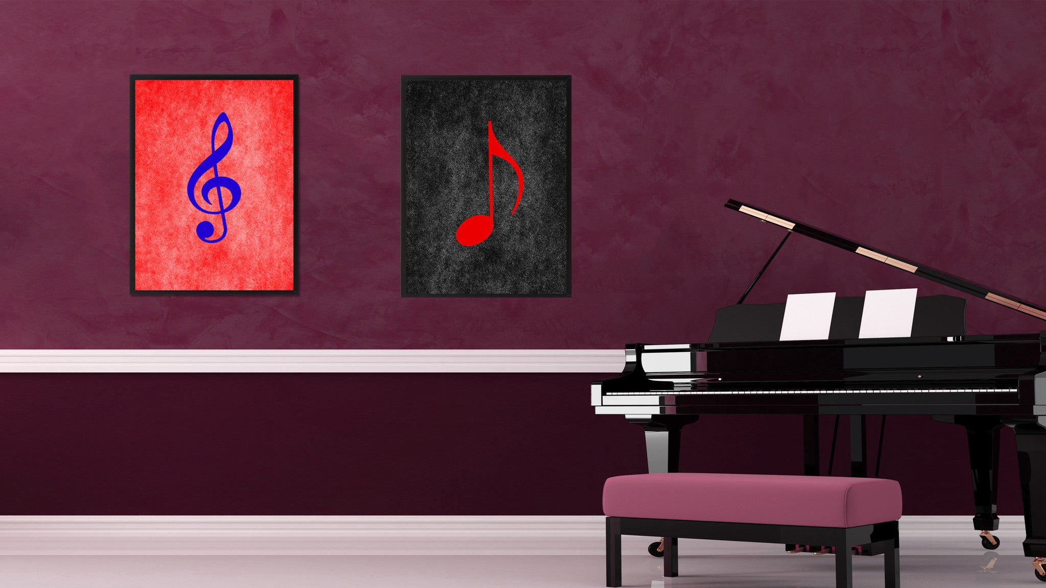Quaver Music Black Canvas Print Pictures Frames Office Home Décor Wall Art Gifts