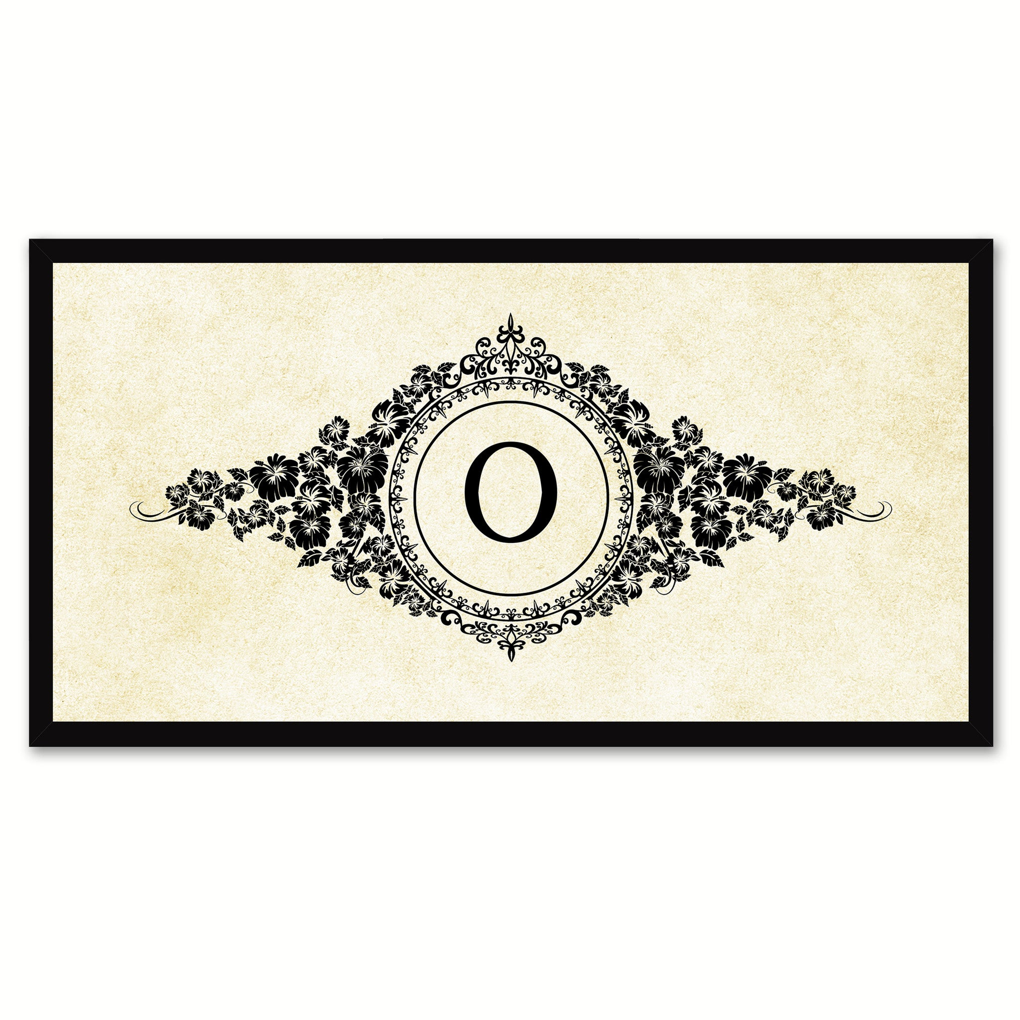 Alphabet Letter O White Canvas Print, Black Custom Frame