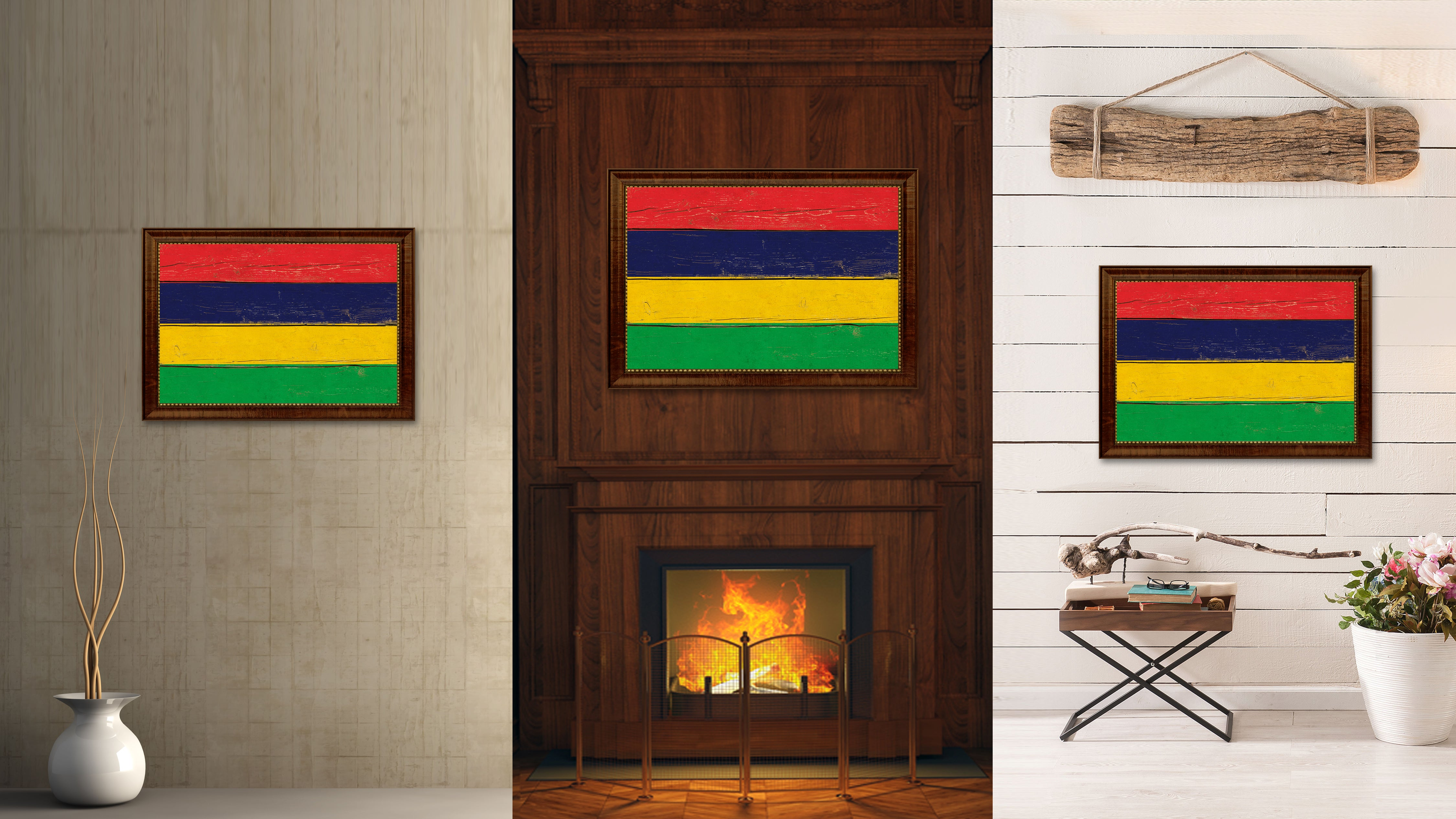Mauritius Country Vintage Flag Home Decor Gift Ideas Wall Art ...