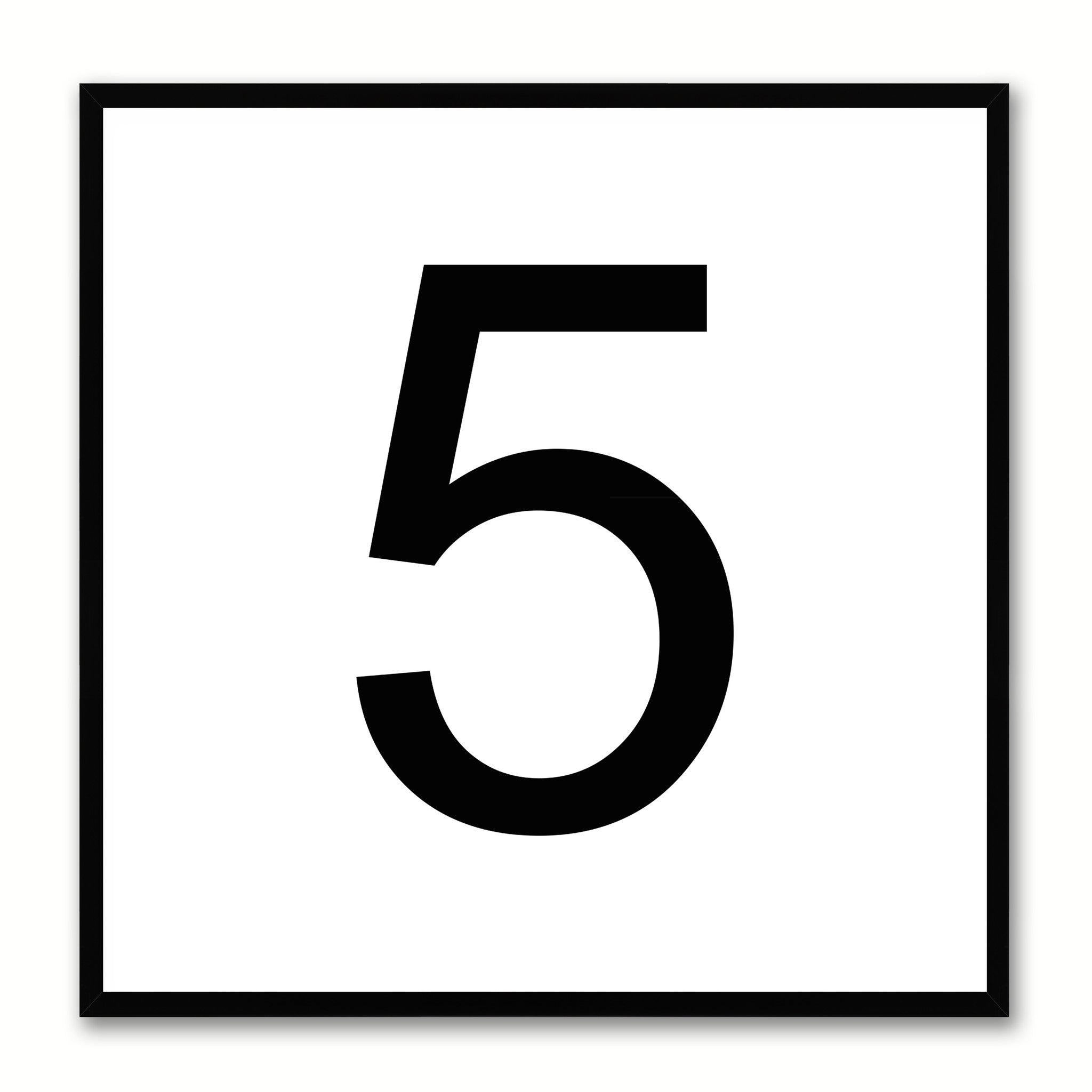 Number 5 White Canvas Print Black Frame Kids Bedroom Wall Décor Home Art